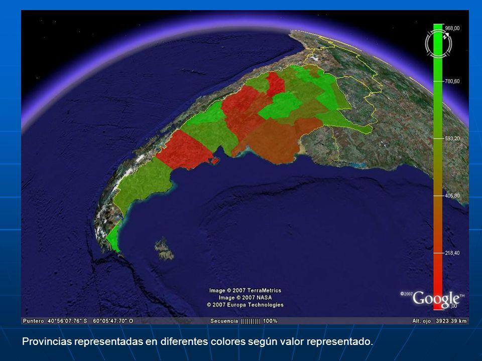 Provincias representadas en diferentes colores según valor representado.