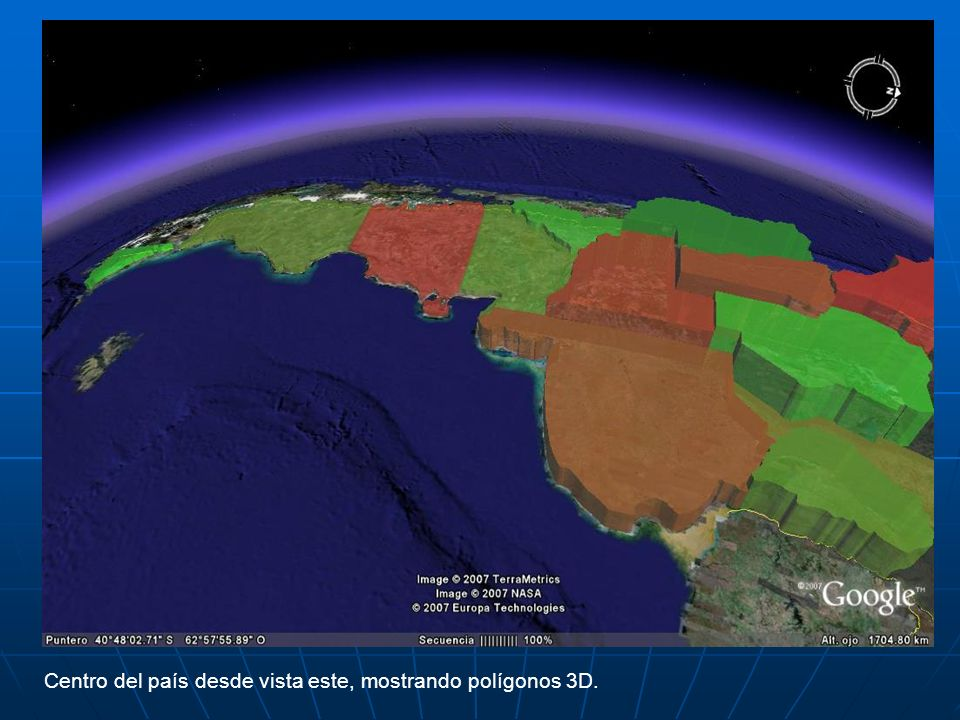 Centro del país desde vista este, mostrando polígonos 3D.