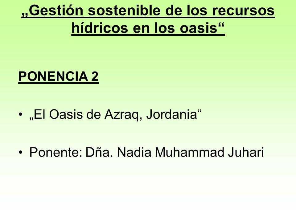 """""""Gestión sostenible de los recursos hídricos en los oasis"""
