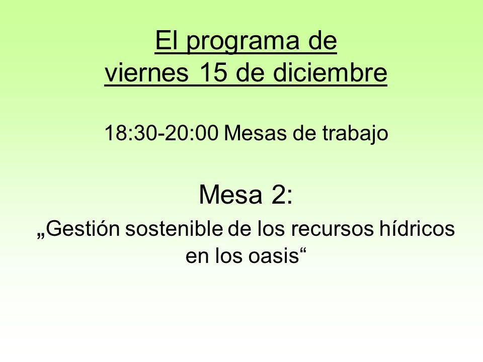 """El programa de viernes 15 de diciembre 18:30-20:00 Mesas de trabajo Mesa 2: """"Gestión sostenible de los recursos hídricos en los oasis"""