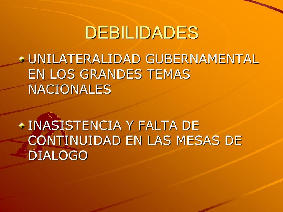 DEBILIDADES UNILATERALIDAD GUBERNAMENTAL EN LOS GRANDES TEMAS NACIONALES.