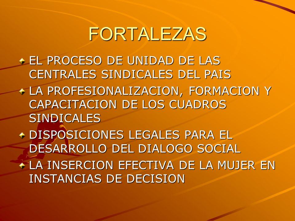 FORTALEZAS EL PROCESO DE UNIDAD DE LAS CENTRALES SINDICALES DEL PAIS