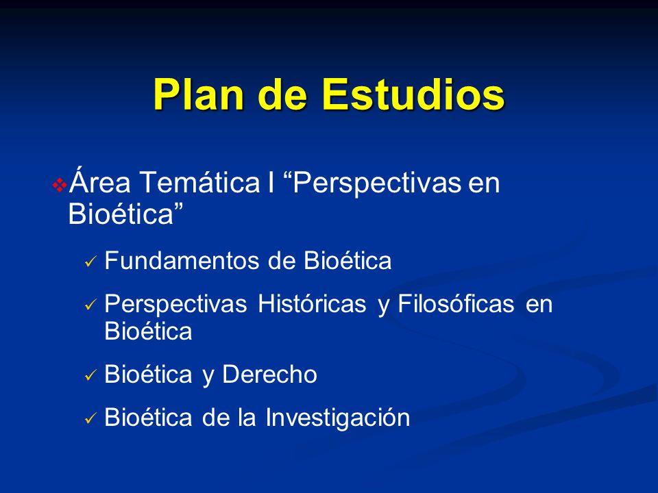 Plan de Estudios Área Temática I Perspectivas en Bioética