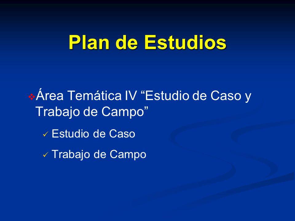 Plan de Estudios Área Temática IV Estudio de Caso y Trabajo de Campo