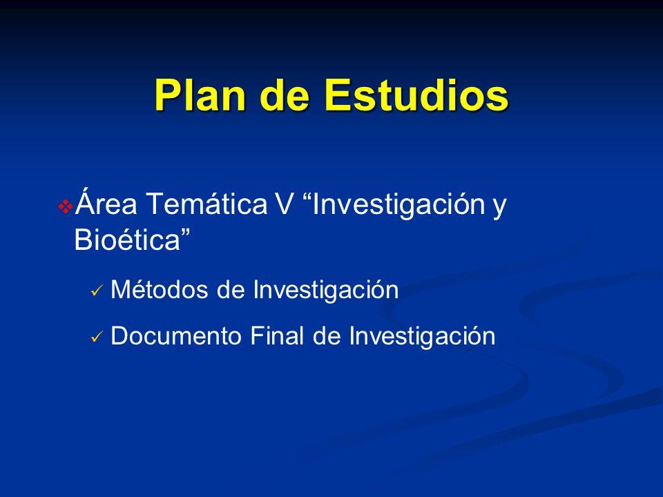 Plan de Estudios Área Temática V Investigación y Bioética