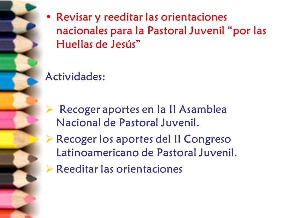 Revisar y reeditar las orientaciones nacionales para la Pastoral Juvenil por las Huellas de Jesús