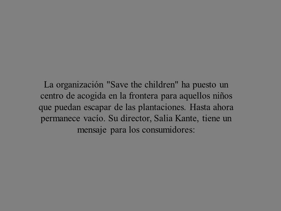 La organización Save the children ha puesto un centro de acogida en la frontera para aquellos niños que puedan escapar de las plantaciones.