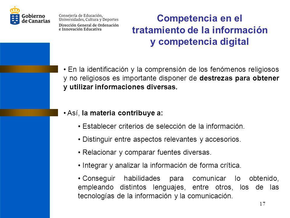 Competencia en el tratamiento de la información y competencia digital