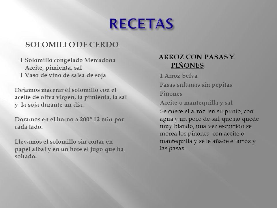 RECETAS SOLOMILLO DE CERDO ARROZ CON PASAS Y PIÑONES 1 Arroz Selva