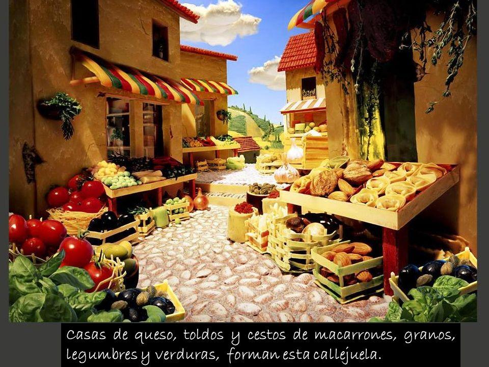 Casas de queso, toldos y cestos de macarrones, granos, legumbres y verduras, forman esta callejuela.