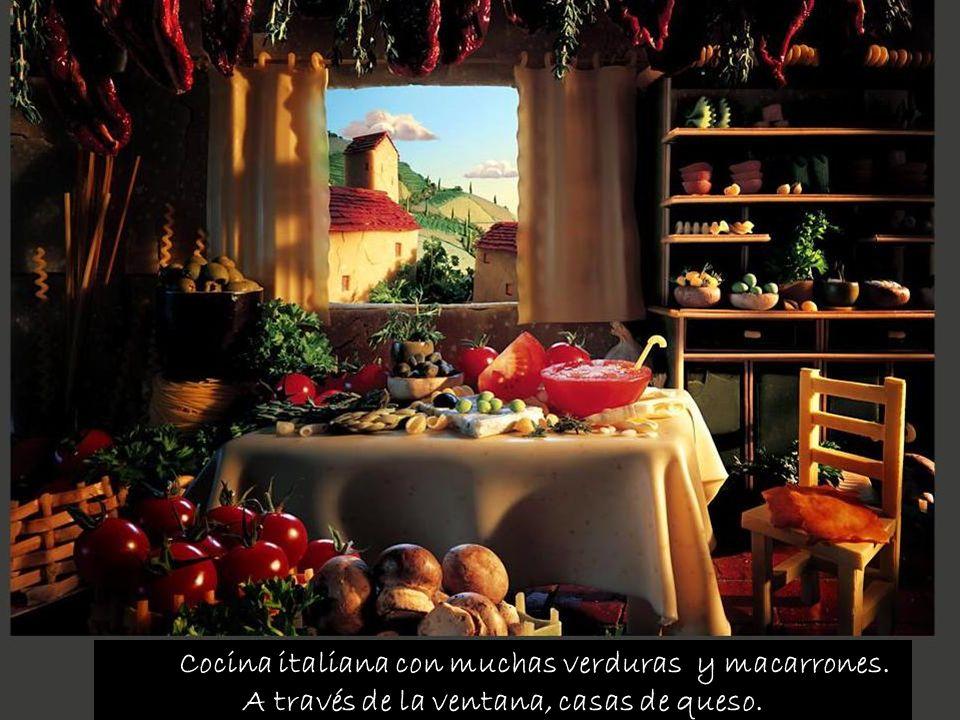 Cocina italiana con muchas verduras y macarrones