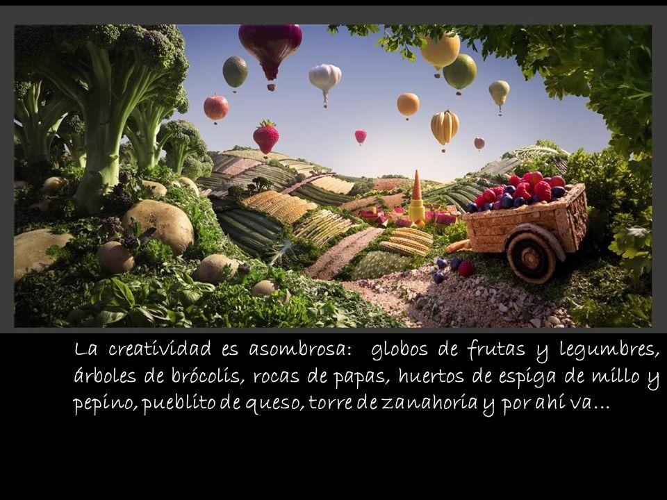 La creatividad es asombrosa: globos de frutas y legumbres,