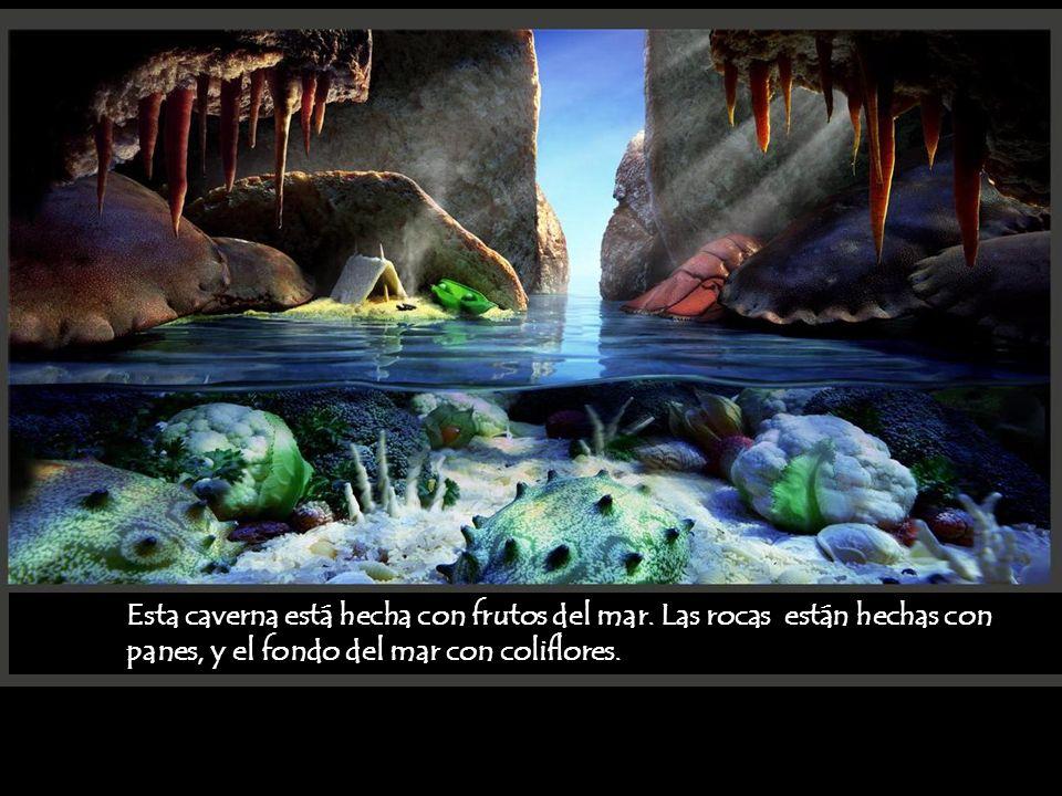 Esta caverna está hecha con frutos del mar. Las rocas están hechas con