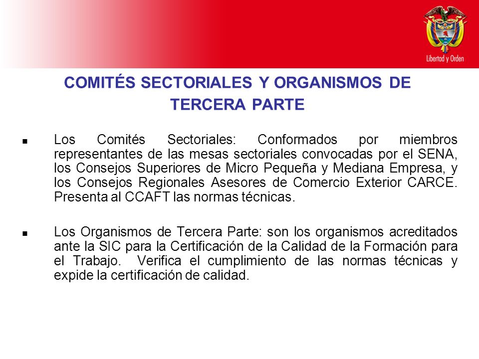 COMITÉS SECTORIALES Y ORGANISMOS DE TERCERA PARTE
