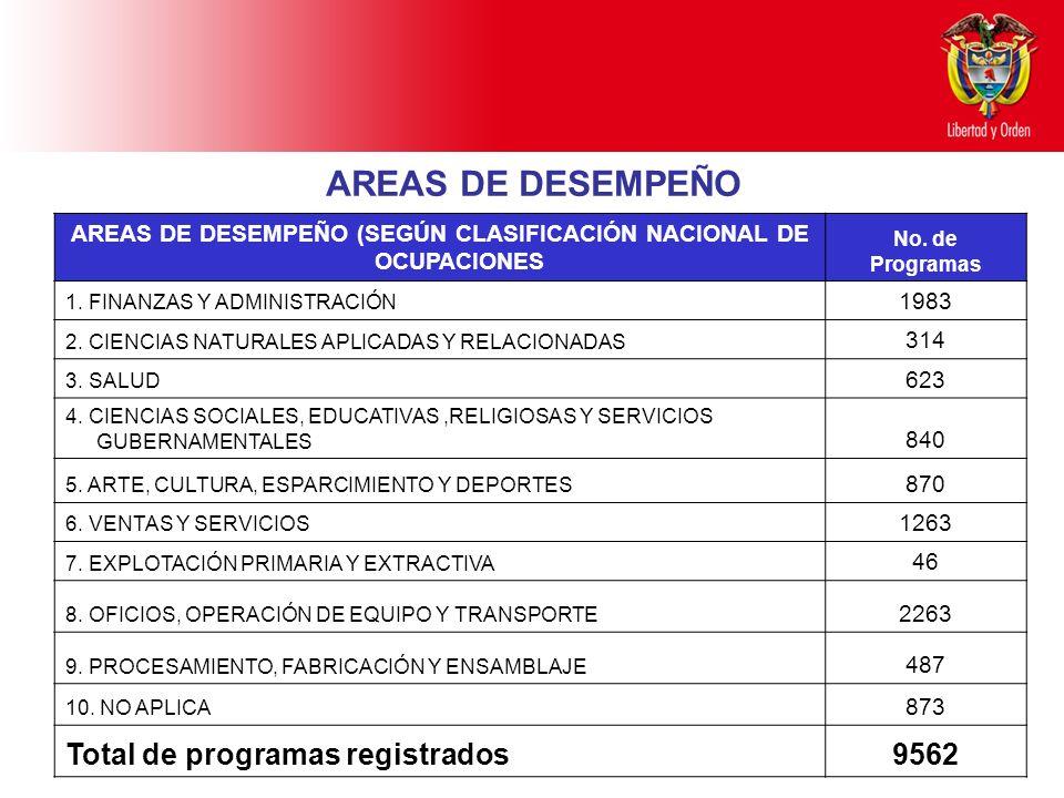 AREAS DE DESEMPEÑO (SEGÚN CLASIFICACIÓN NACIONAL DE OCUPACIONES