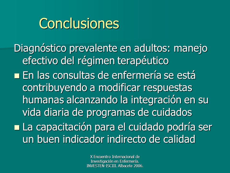 Conclusiones Diagnóstico prevalente en adultos: manejo efectivo del régimen terapéutico.