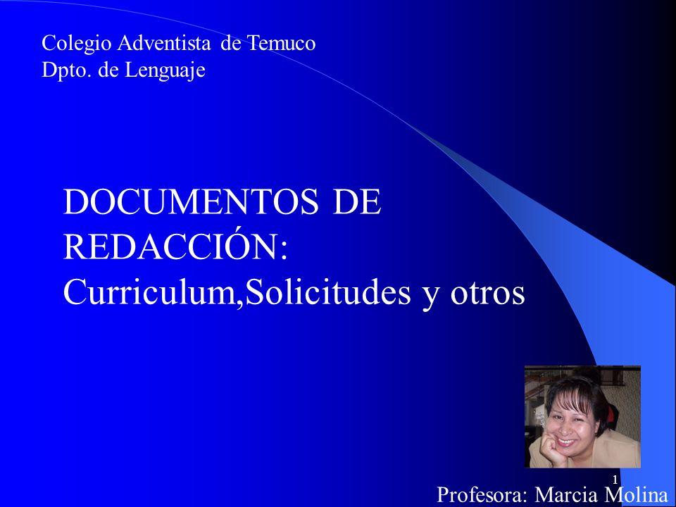 DOCUMENTOS DE REDACCIÓN: Curriculum,Solicitudes y otros