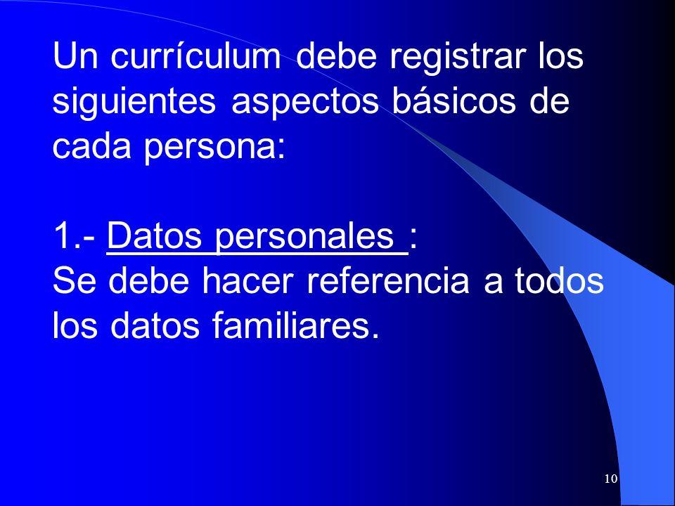 Un currículum debe registrar los siguientes aspectos básicos de cada persona: