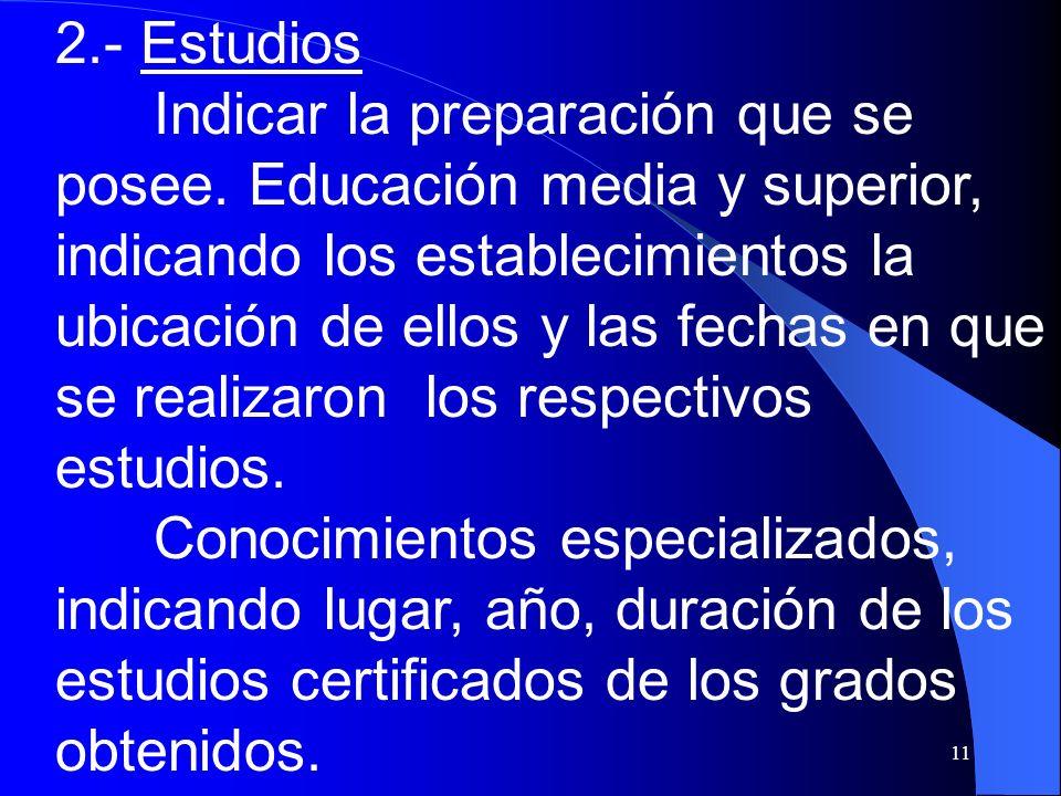 2.- Estudios