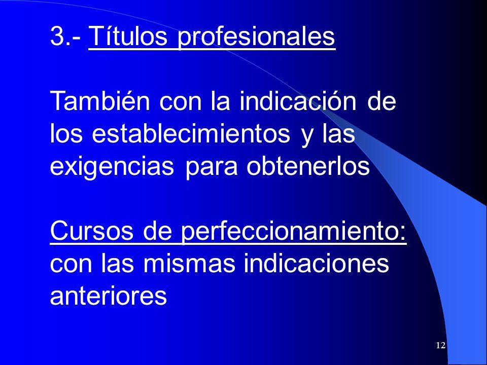3.- Títulos profesionales