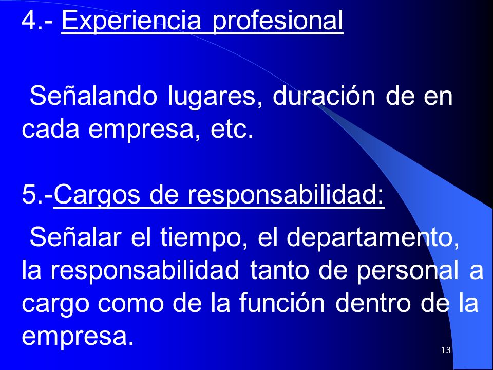 4.- Experiencia profesional