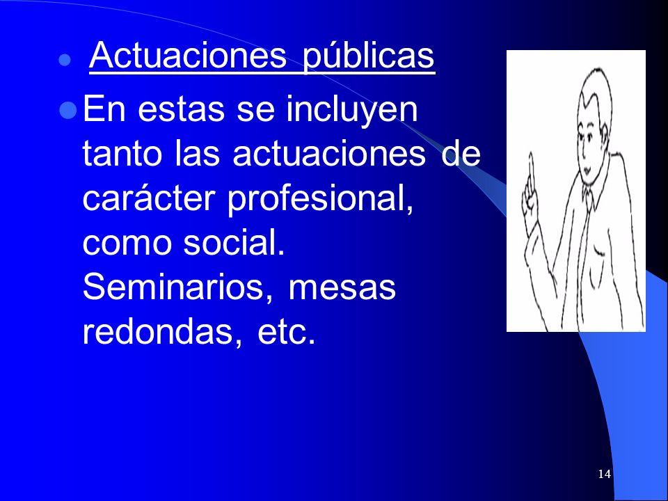 Actuaciones públicas En estas se incluyen tanto las actuaciones de carácter profesional, como social.