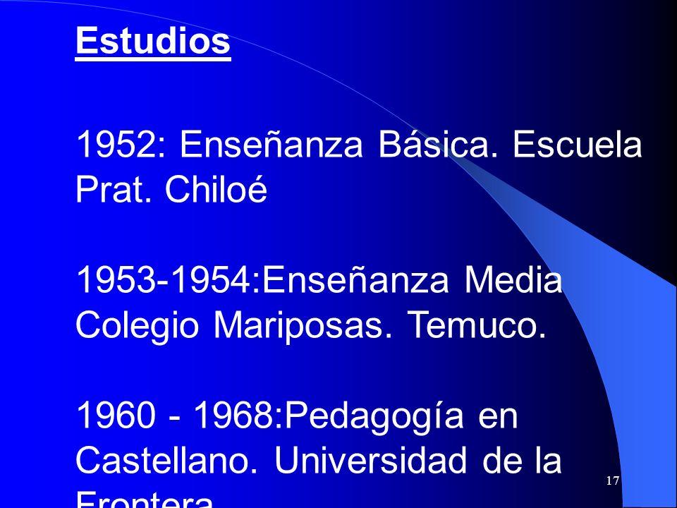 Estudios 1952: Enseñanza Básica. Escuela Prat. Chiloé. 1953-1954:Enseñanza Media Colegio Mariposas. Temuco.