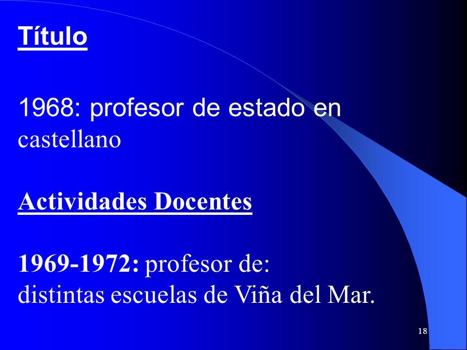 Título 1968: profesor de estado en castellano. Actividades Docentes.