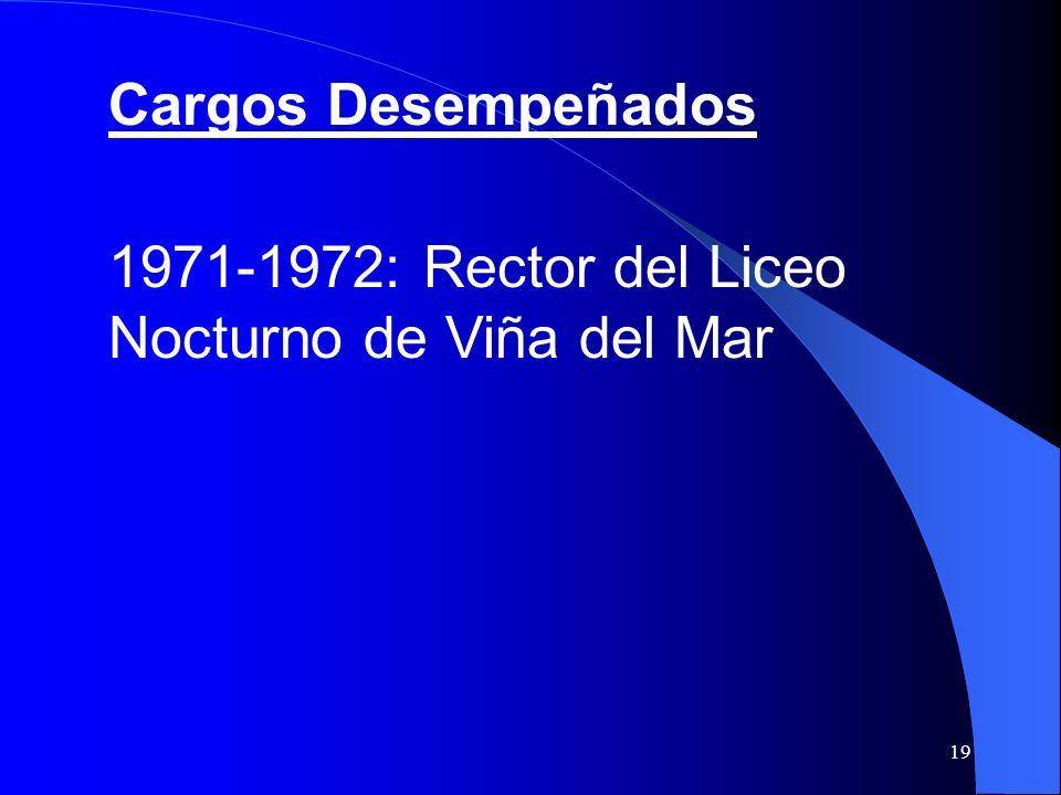 Cargos Desempeñados 1971-1972: Rector del Liceo Nocturno de Viña del Mar