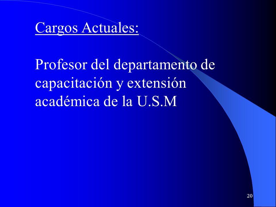 Cargos Actuales: Profesor del departamento de capacitación y extensión académica de la U.S.M