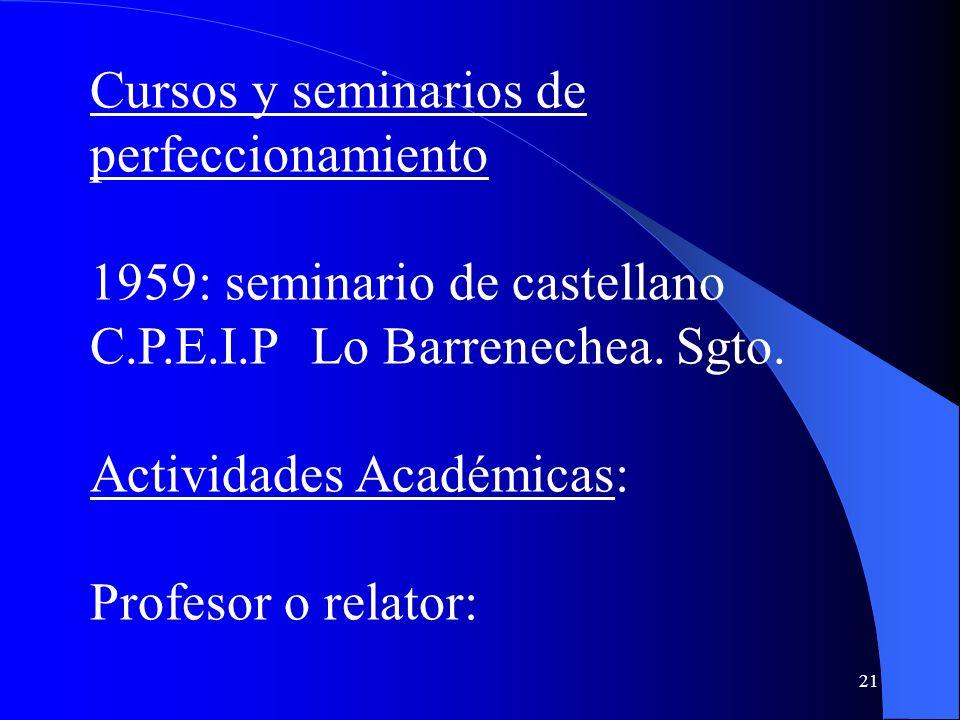 Cursos y seminarios de perfeccionamiento