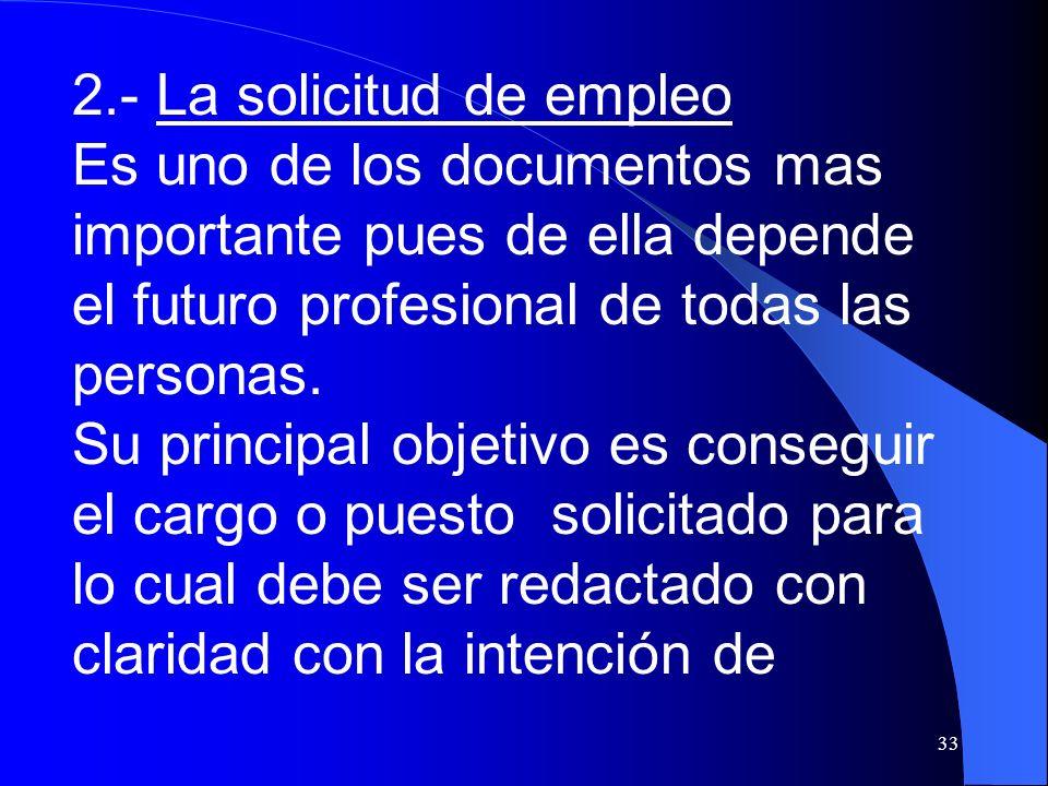 2.- La solicitud de empleo