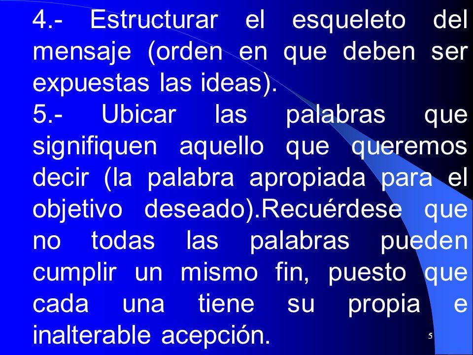 4.- Estructurar el esqueleto del mensaje (orden en que deben ser expuestas las ideas).