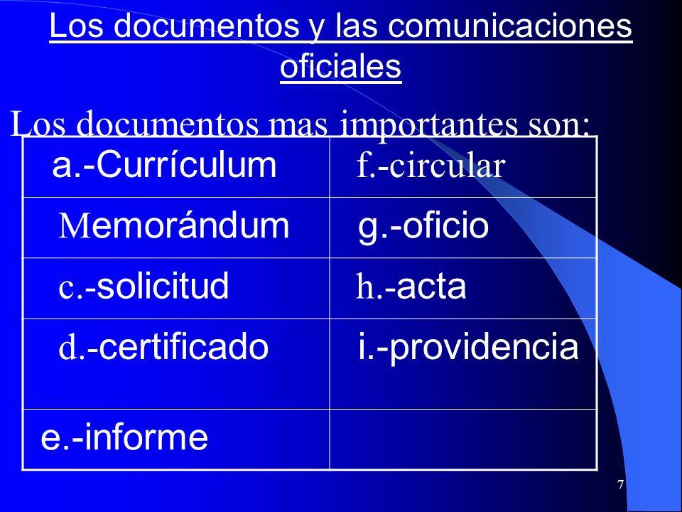 Los documentos y las comunicaciones oficiales