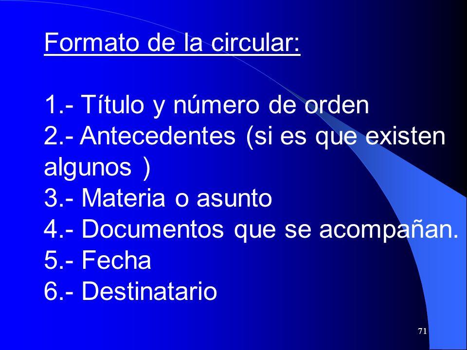 Formato de la circular: