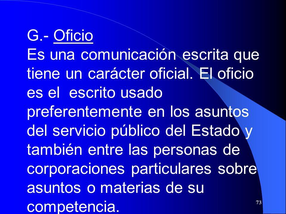 G.- Oficio