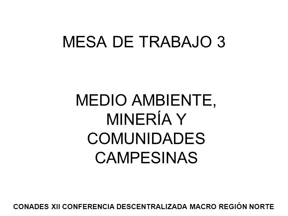 MEDIO AMBIENTE, MINERÍA Y COMUNIDADES CAMPESINAS