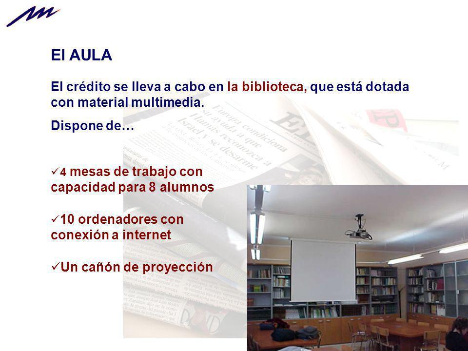 El AULA El crédito se lleva a cabo en la biblioteca, que está dotada con material multimedia. Dispone de…