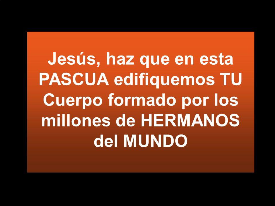 Jesús, haz que en esta PASCUA edifiquemos TU Cuerpo formado por los millones de HERMANOS del MUNDO