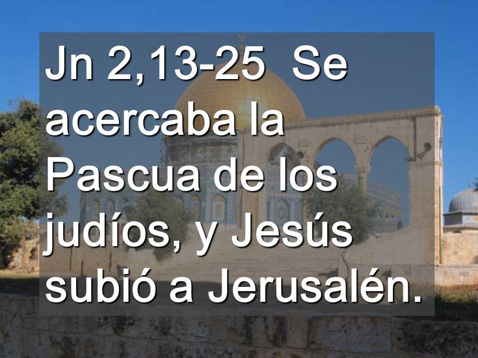Jn 2,13-25 Se acercaba la Pascua de los judíos, y Jesús subió a Jerusalén.