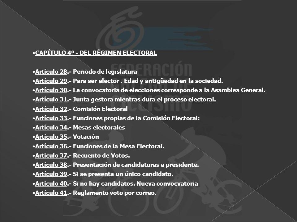 CAPÍTULO 4º - DEL RÉGIMEN ELECTORAL