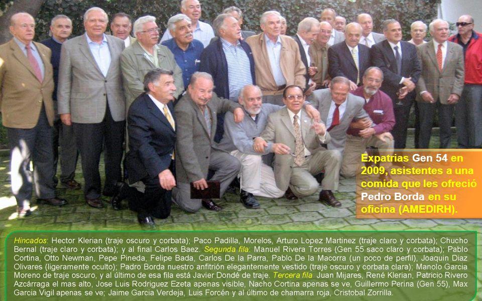 Expatrias Gen 54 en 2009, asistentes a una comida que les ofreció Pedro Borda en su oficina (AMEDIRH).