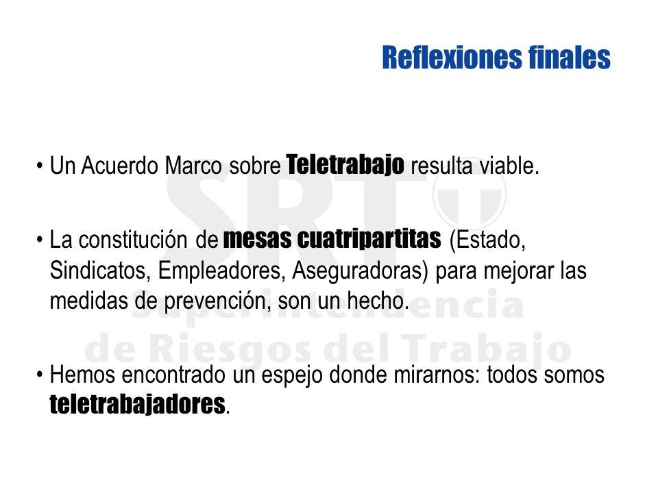 Reflexiones finales Un Acuerdo Marco sobre Teletrabajo resulta viable.