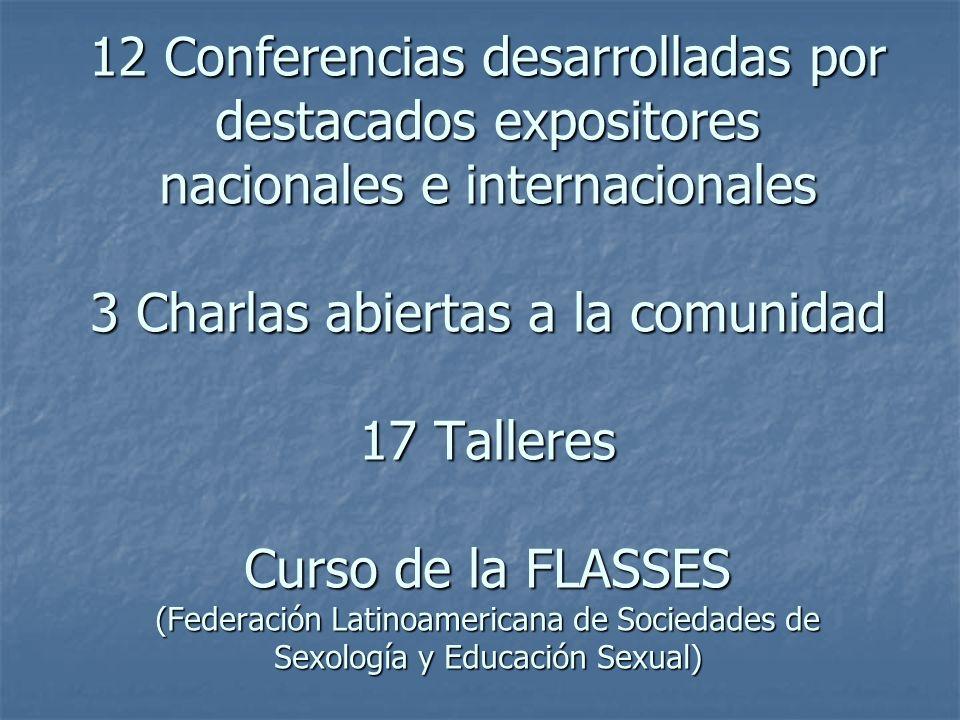 12 Conferencias desarrolladas por destacados expositores nacionales e internacionales 3 Charlas abiertas a la comunidad 17 Talleres Curso de la FLASSES (Federación Latinoamericana de Sociedades de Sexología y Educación Sexual)
