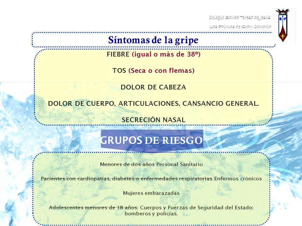 Síntomas de la gripe GRUPOS DE RIESGO FIEBRE (igual o más de 38º)