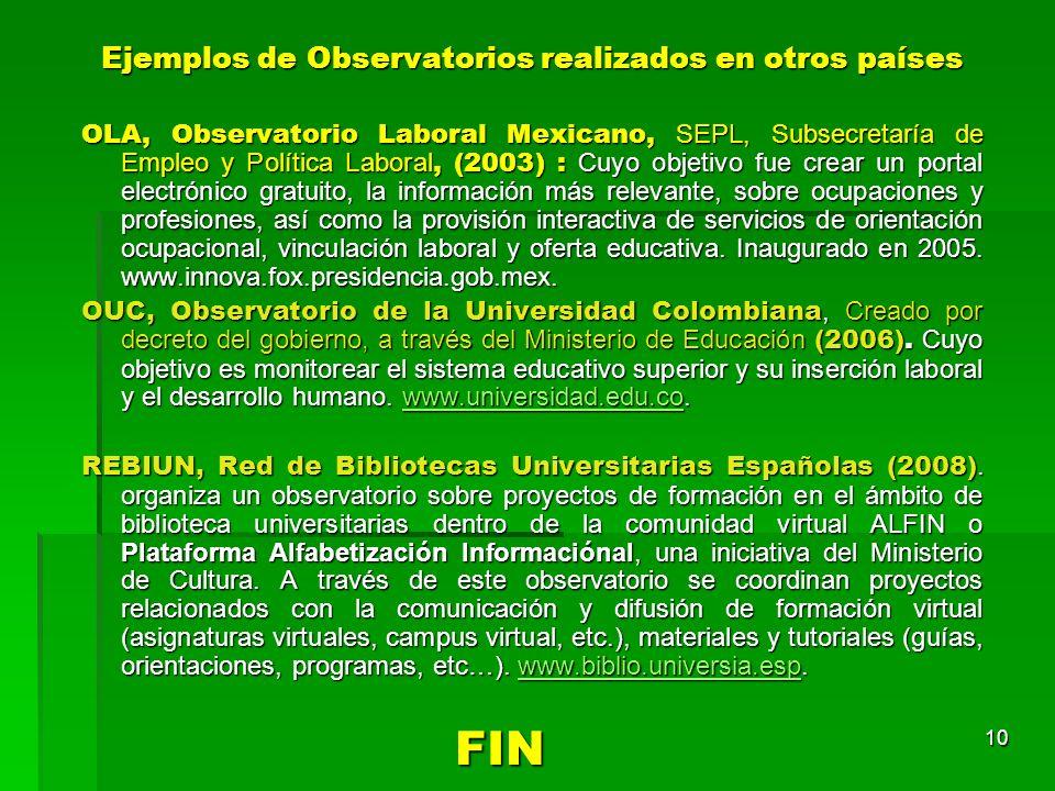 Ejemplos de Observatorios realizados en otros países
