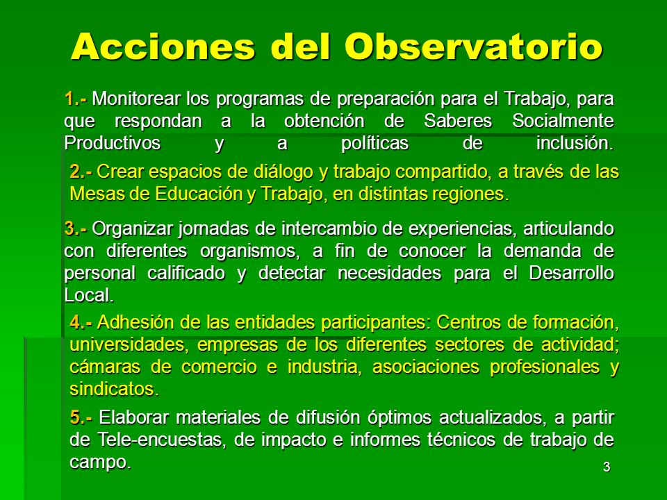 Acciones del Observatorio