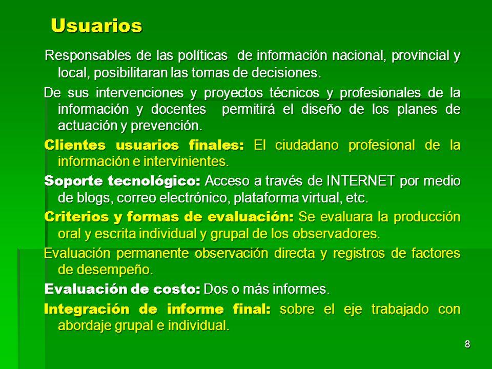 Usuarios Responsables de las políticas de información nacional, provincial y local, posibilitaran las tomas de decisiones.