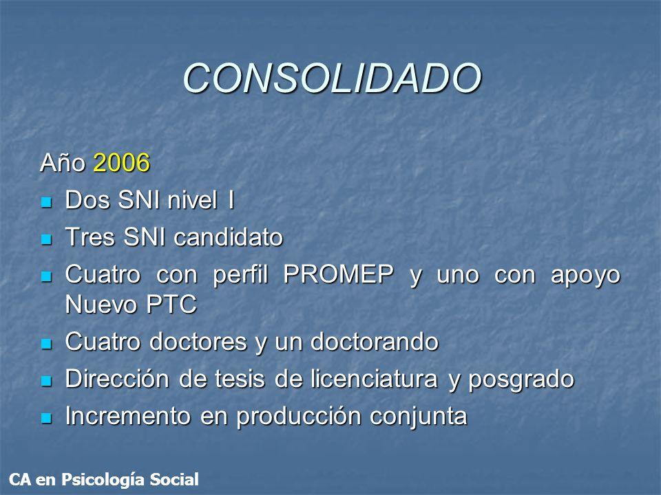 CONSOLIDADO Año 2006 Dos SNI nivel I Tres SNI candidato