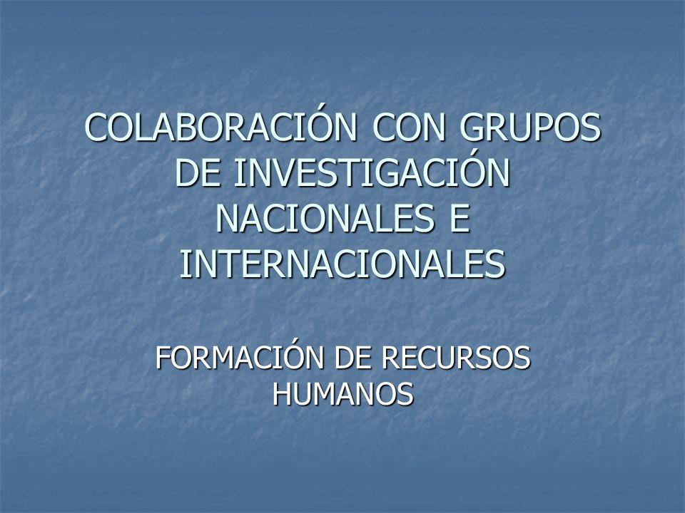 COLABORACIÓN CON GRUPOS DE INVESTIGACIÓN NACIONALES E INTERNACIONALES